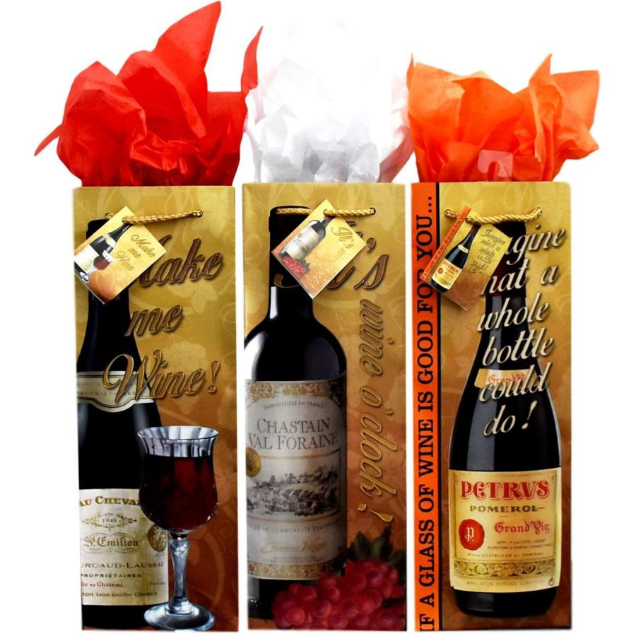 Bg 15 1 Matte Wine With Script Set Of 3 Bottle Gift Bags