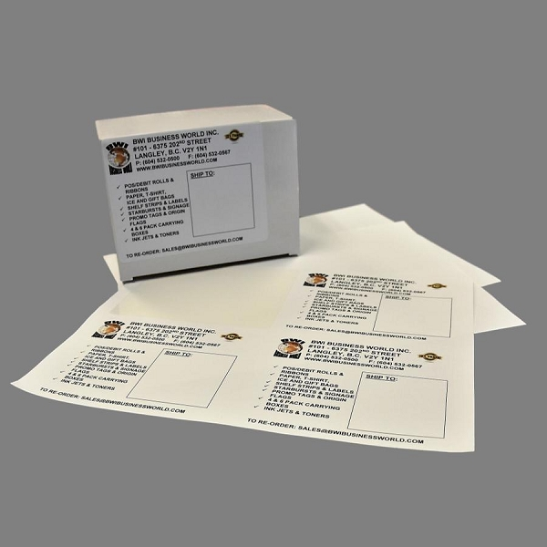 4 25 x 5 5 labels 4 per page 250 sheets box 1000 labels box