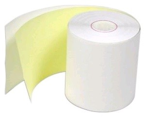 "3"" x 3"" 90' White/Yellow 2 Ply Paper Rolls 50/Case"
