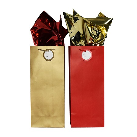 BG-78-2 Gold and Red Matte Finish Double Bottle Bags