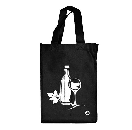 REUSABLE 4 BOTTLE CLOTH BAGS WITH COLLAPSIBLE DIVIDERS-BLACK WINE 100/CASE