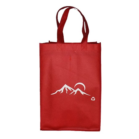 REUSABLE 4 BOTTLE CLOTH BAGS WITH COLLAPSIBLE DIVIDERS-RED MOUNTAIN 100/CASE