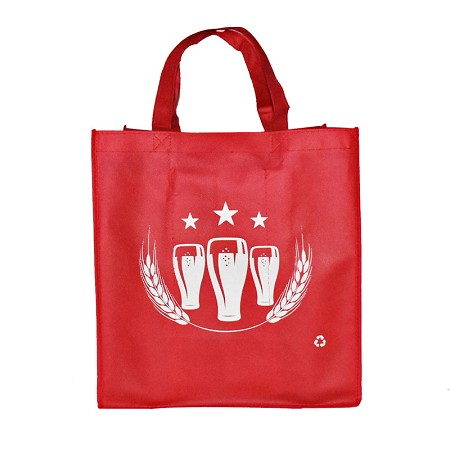 REUSABLE 6 LARGE 1.5/1.15 BOTTLE CLOTH BAGS WITH COLLAPSIBLE DIVIDERS-RED BEER 100/CASE