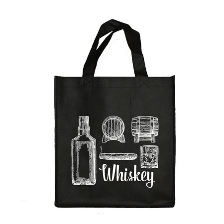 REUSABLE 6  BOTTLE CLOTH BAGS WITH LARGE 1.5/1.15 COLLAPSIBLE DIVIDERS-BLACK WHISKEY 100/CASE