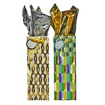BG-68-1 Shimmering Gold/Radiant Green with Foil Stamp Set of 2 Bottle Gift Bags