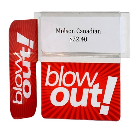 BLOW OUT REUSABLE PROMO TAG WITH RIGHT ANGLE