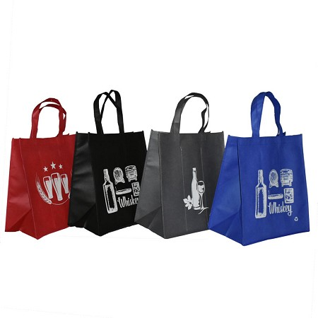 REUSABLE 6 BOTTLE CLOTH BAGS WITH COLLAPSIBLE DIVIDERS-MIX-3 100/CASE