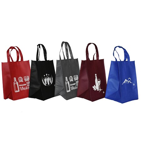 REUSABLE 4 BOTTLE CLOTH BAGS WITH COLLAPSIBLE DIVIDERS-MIX-5 100/CASE