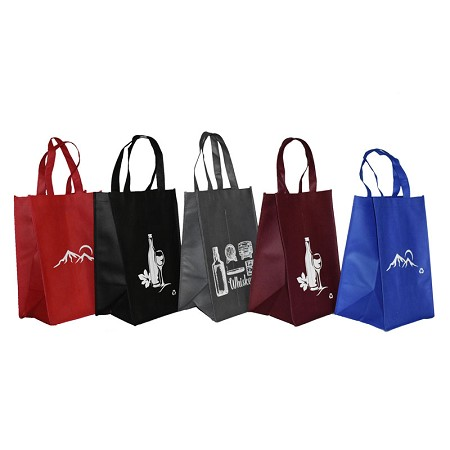 REUSABLE 4 BOTTLE CLOTH BAGS WITH COLLAPSIBLE DIVIDERS-MIX-6 100/CASE