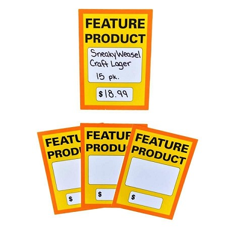 "FEATURE PRODUCT SIGN-LARGE 5"" X 7"" 5 pt gloss Card Stock Sign"