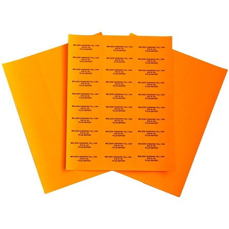 "Easy Peel Labels-Light Orange- 4"" x 1"" 100 sheets/box (2000 labels)"