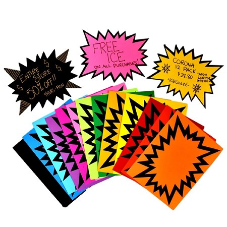 LARGE STARBURSTS RAINBOW PACK 15 COLOURS PLUS Black 100 SHEETS!