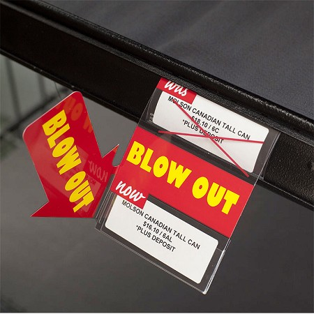 DOUBLE BLOW OUT RE-USABLE PROMO TAG WITH 90 DEGREE ARROW-3""