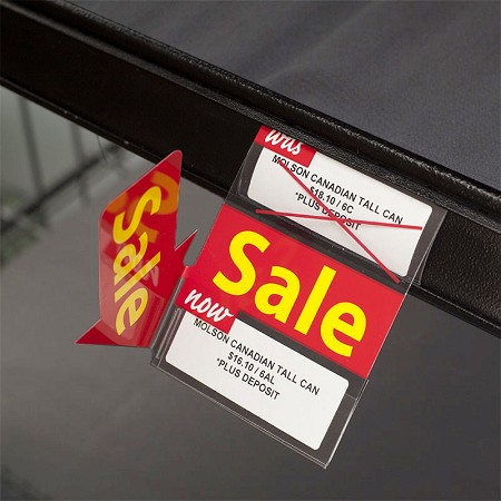 DOUBLE SALE RE-USABLE PROMO TAG WITH 90 DEGREE ARROW 3""