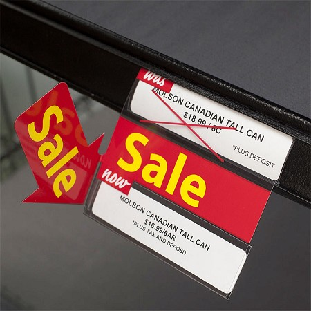 DOUBLE SALE RE-USABLE SALE PROMO TAG  WITH 90 DEGREE ARROW 4""
