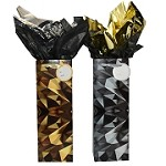 BG-76-1 Gold and Silver Abstract Collage Bottle Gift Bags