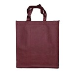 REUSABLE 6 BOTTLE CLOTH BAGS WITH COLLAPSIBLE DIVIDERS-PLAIN BURGUNDY 100/CASE