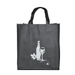 REUSABLE 6 BOTTLE CLOTH BAGS WITH COLLAPSIBLE DIVIDERS-GREY WINE 100/CASE