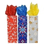 BG-22-1 Festive Set of 3 Patterns Holiday Bottle Gift Bags