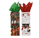 BG-29-1 Red Wine and Snowflake Set Of 2 Holiday Bottle Gift Bags