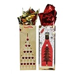 BG-33-1 Gold & Red Holiday Tree Foil Stamped Bottle Gift Bags