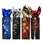 BG-56-1 Gold and Silver Hanging Ornaments Bottle Gift Bags