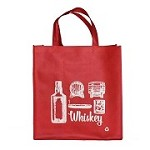 REUSABLE 6 BOTTLE CLOTH BAGS WITH COLLAPSIBLE DIVIDERS-RED WHISKEY 100/CASE