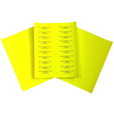 "Easy Peel Labels-Neon Yellow- 4"" x 1"" 100 Sheets/box (2000 labels)"