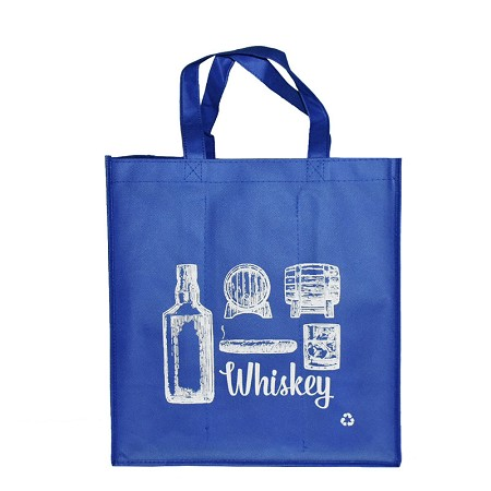 REUSABLE 6 BOTTLE CLOTH BAGS WITH COLLAPSIBLE DIVIDERS-BLUE WHISKEY 100/CASE